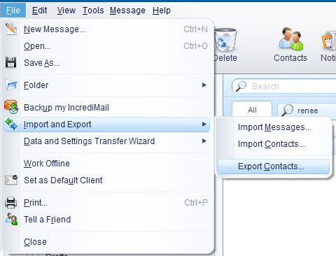 Export IncrediMail contacts to .CSV file and import contacts to Outlook